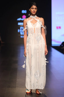 White Sequins Embroidered Cold Shoulder Maxi Dress by Anupamaa Dayal