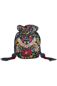 Black Embroidered Round Phoenix Potli Bag by Adora by Ankita