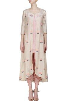 Asymmetric blush long kurta and dhoti pants set by Anshul Apoorva-The DramaQueens