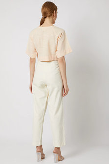 White Pleated Pants With Side Pockets by Ahmev