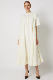 White Godet Dress With Front Placket by Ahmev