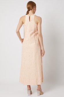 Peach Striped Halter Neck Dress by Ahmev