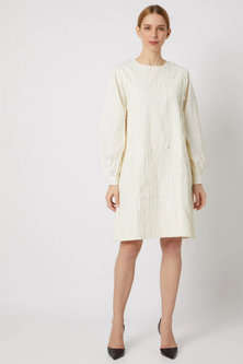 White Textured Striped Dress by Ahmev