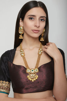 Gold Plated Pearl & Kundan Necklace Set by Anjali Jain