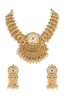 Gold Plated Pearls & Stones Necklace Set by Anjali Jain
