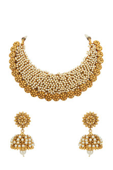 Gold Plated Pearls Necklace Set by Anjali Jain