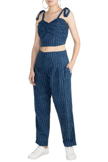 Indigo Blue Embroidered Top With Pleated Pants by Akashi