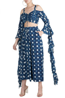 Indigo Blue Embroidered Top With Pants by Akashi