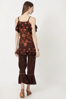 Brown Wrap Top With Pants by Akashi