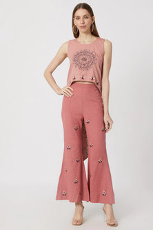 Pink Asymmetrical Top With Pants by Akashi