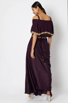 Wine Embroidered Crop Top With Draped Skirt by Aksh