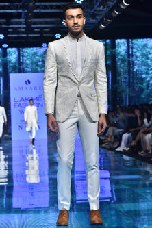Ivory Embroidered Woolen Tuxedo Suit by Amaare