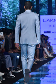 Ice Blue Embroidered Bandhgala Jacket With Trousers by Amaare