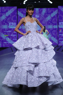 Mauve Embroidered Tiered Gown by AMIT GT-Shop By Style