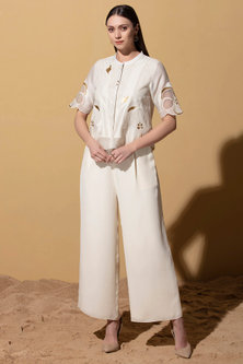 Ivory Crop Top With Pants by AM:PM