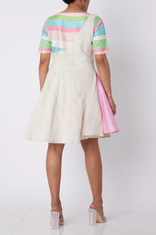 White Dress With Multi Colored Stripes by Amit Sachdeva