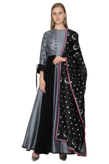 Grey Embroidered Handloom Anarkali With Dupatta by Amit Sachdeva