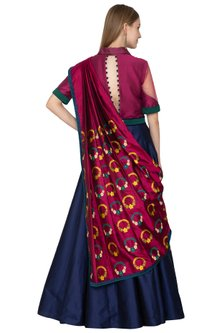Wine & Blue Handloom Anarkali With Belted Dupatta by Amit Sachdeva
