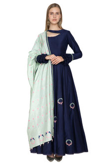 Navy Blue Handwoven Anarkali With Mint Green Dupatta by Amit Sachdeva