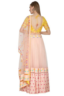 Yellow & Peach Lehenga Set With Tassels by Amit Sachdeva