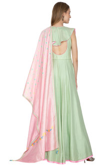 Green Anarkali With Pink Handloom Dupatta by Amit Sachdeva