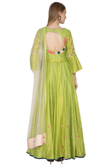 Mehendi Green Anarkali With Peach Handloom Dupatta by Amit Sachdeva