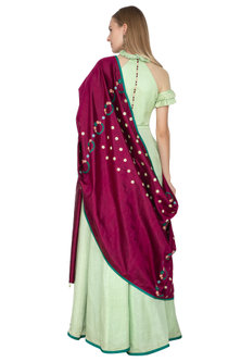Tea Green Anarkali With Wine Handloom Dupatta by Amit Sachdeva