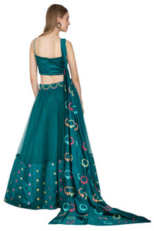 Teal Blue Handloom Draped Lehenga Set by Amit Sachdeva