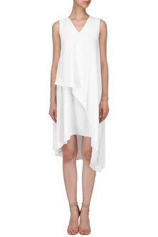 White Layered Dress by AMIT GT