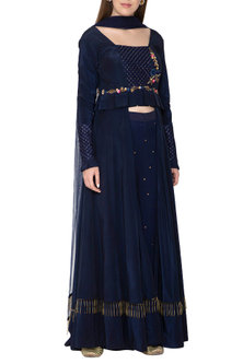 Navy Blue Embroidered Anarkali Set by Amit Sachdeva