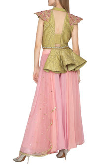 Gold Embellished Tuxedo With Draped Divider Skirt by Amit Sachdeva