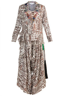 White Printed Decontructed Blazer With Top & Draped Pants by Anamika Khanna