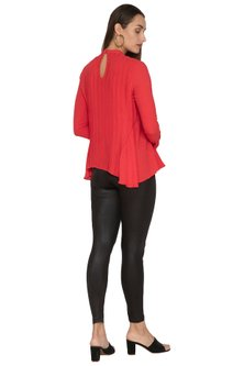 Red Detailed Top With Flared Panels by Ankita