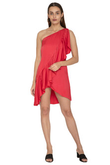 Red One Shoulder Dress by Ankita