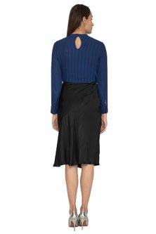 Black A-line Satin Skirt by Ankita