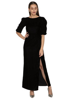 Black Pleated Gown With Puffed Sleeves by Ankita