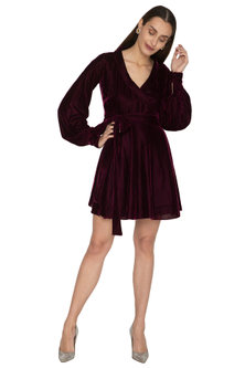 Purple Collared Dress With Flared Sleeves by Ankita