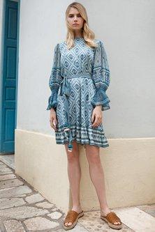 Bluish Grey Printed Dress by Anita Dongre