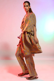 Mustard Printed Shirt Cape with Pyjama Pants by Anamika Khanna