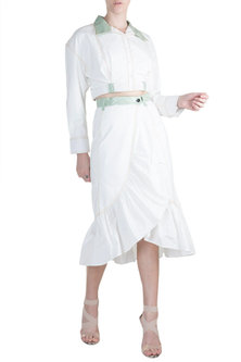 White Shirt With Wrapped Skirt by PARNIKA