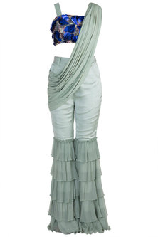 Mint Blue Embroidered Crop Top With Pants & Attached Drape by PARNIKA
