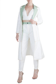 White Jacket With Bralette & Pants by PARNIKA