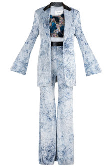 Blue Jacket With Embroidered Crop Top & Pants by PARNIKA