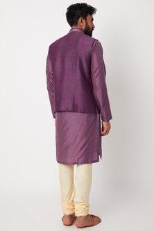 Purple Embroidered Bundi Jacket With Kurta Set by Anurav