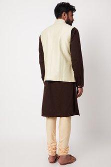 Beige Embroidered Bundi Jacket Set by Anurav