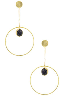 Gold Plated Chain and Semi Precious Stone Earrings by Aaree Accessories