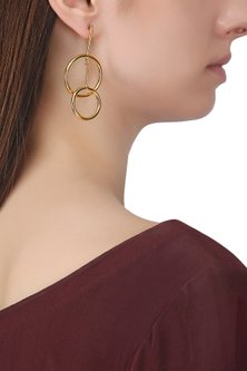 Gold Plated Two Drop Earrings by Aaree Accessories
