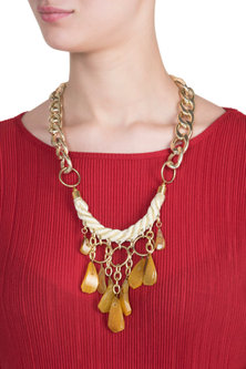 Gold plated link chain necklace by SAMSARA Jewels by RH