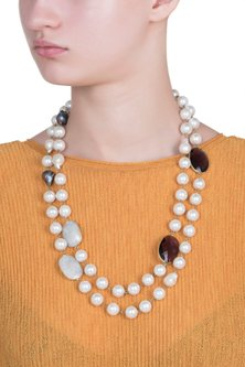 Gold plated moonstone necklace by SAMSARA Jewels by RH