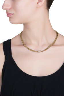 Gold plated snake chain necklace by SAMSARA Jewels by RH